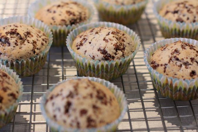 Muffins með súkkulaðibitum