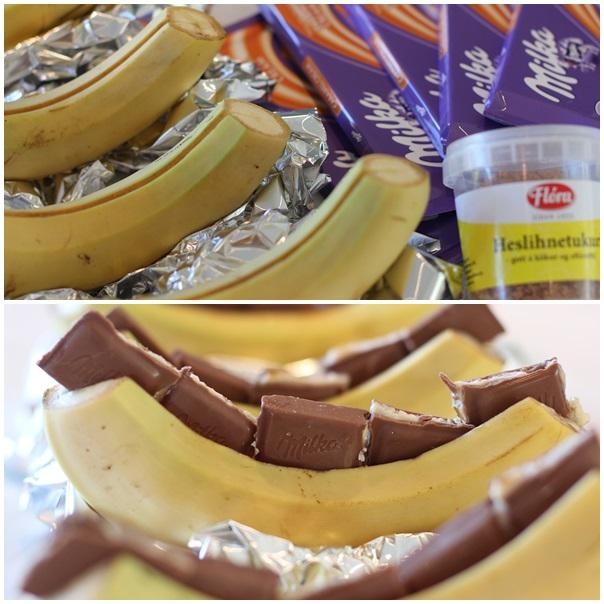 Grillaðir súkkulaði&karamellu bananar
