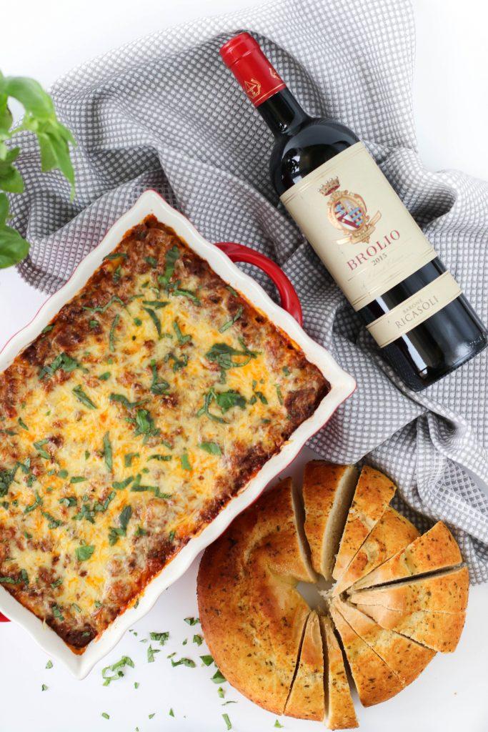 Lasagna og rauðvín