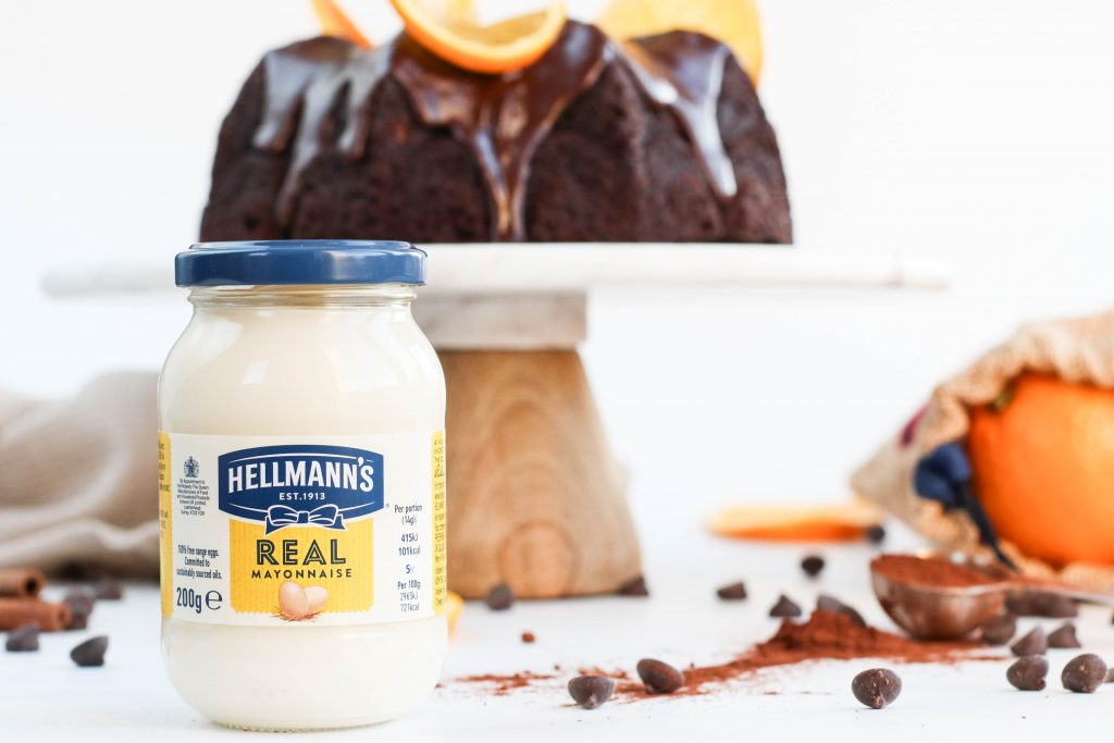 Súkkulaðikaka með appelsínukeim og Hellmann's mayo