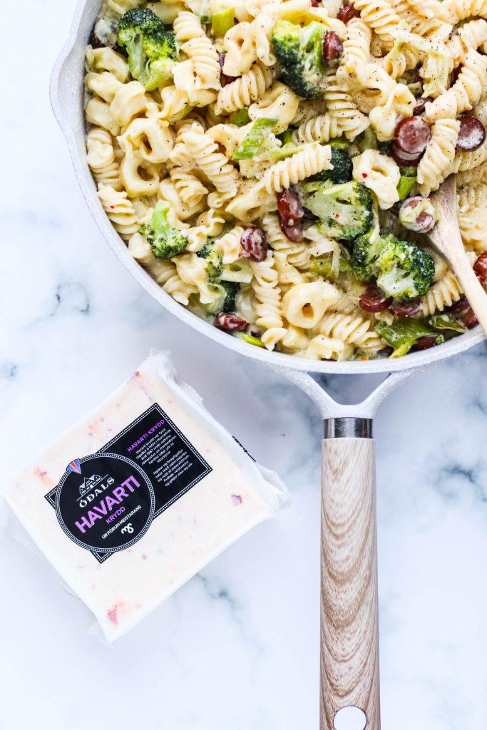Ostapasta með Havarti kryddosti og brokkoli