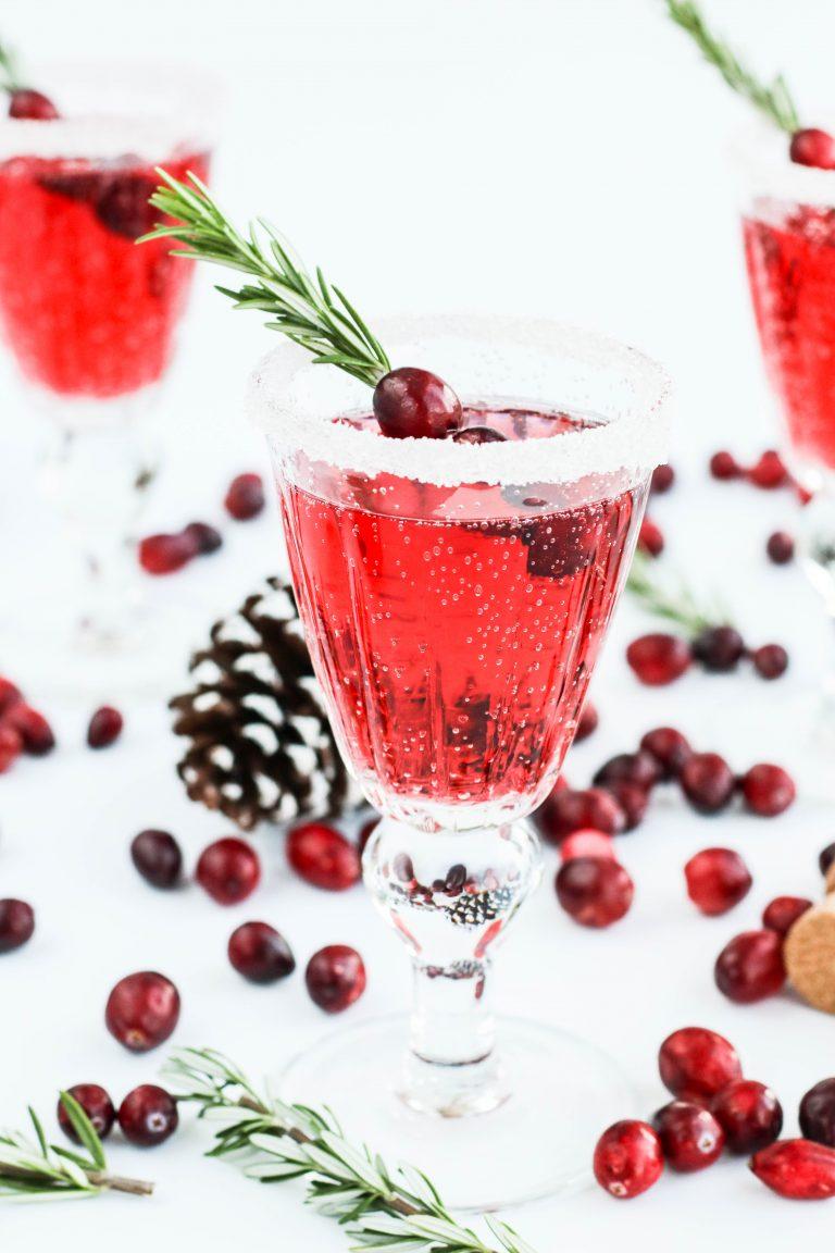 mímósa; jólamímósa; cranberry and prosecco