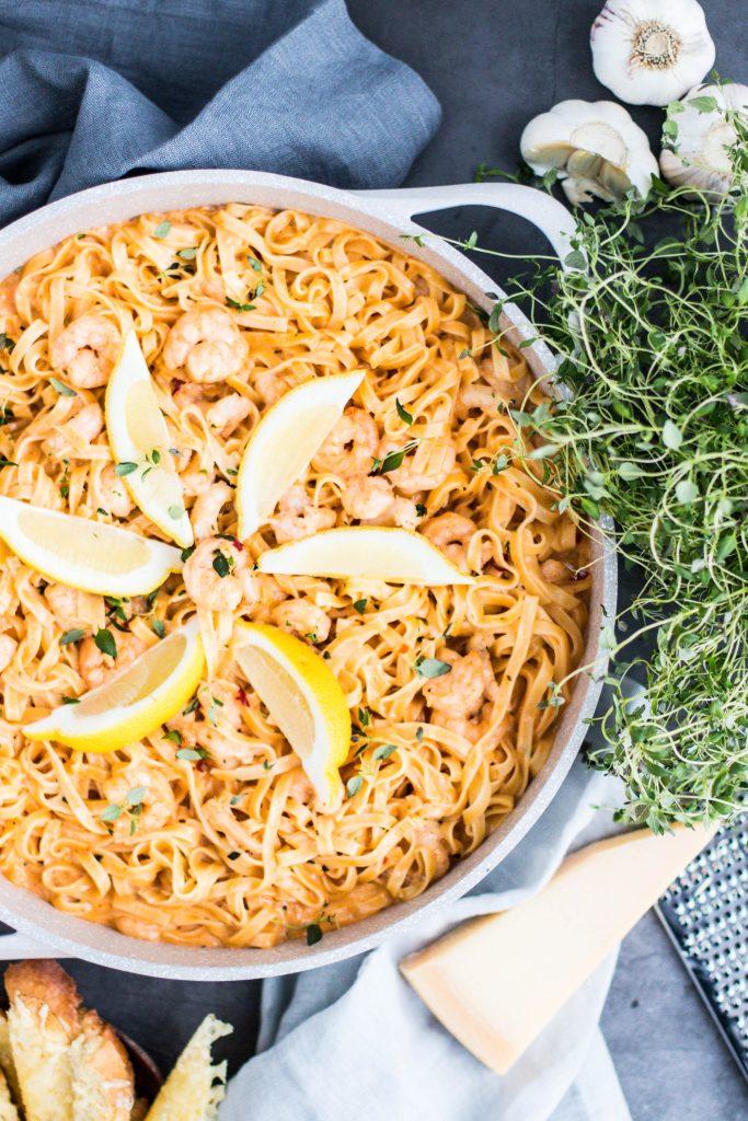 Spicy tagliatelline með chilli, humri, risarækjum, timian og rjóma