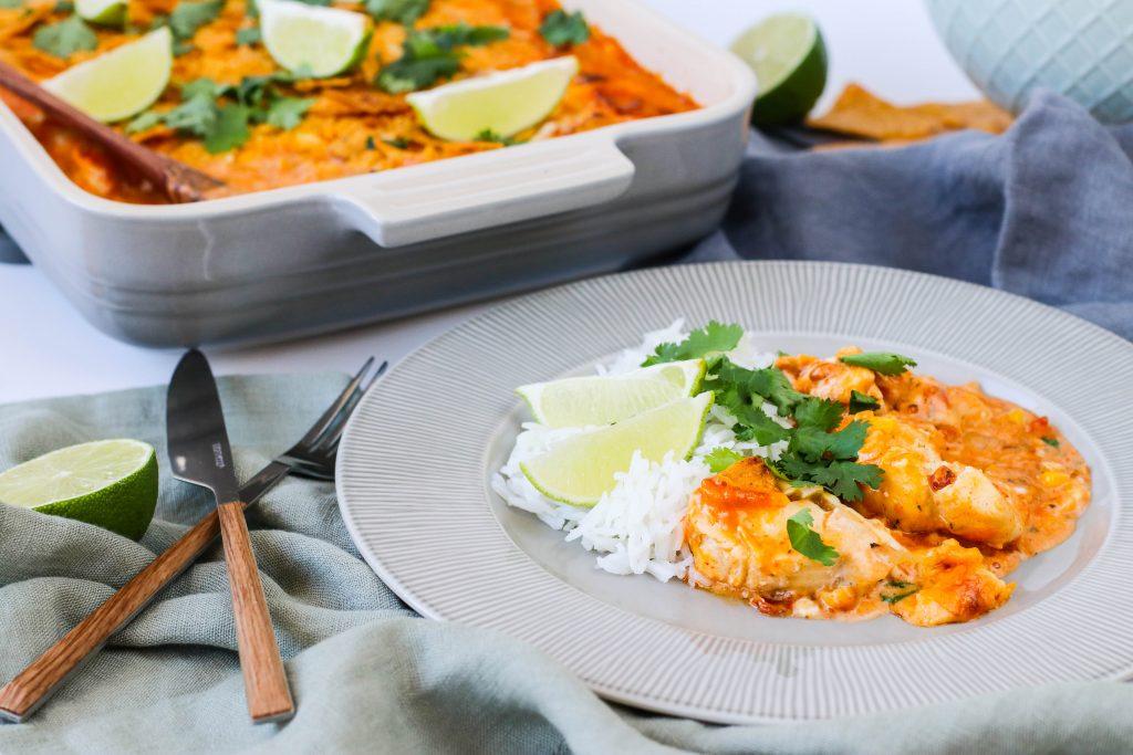 Mexíkó fiskur með hrísgrjónum og nachos