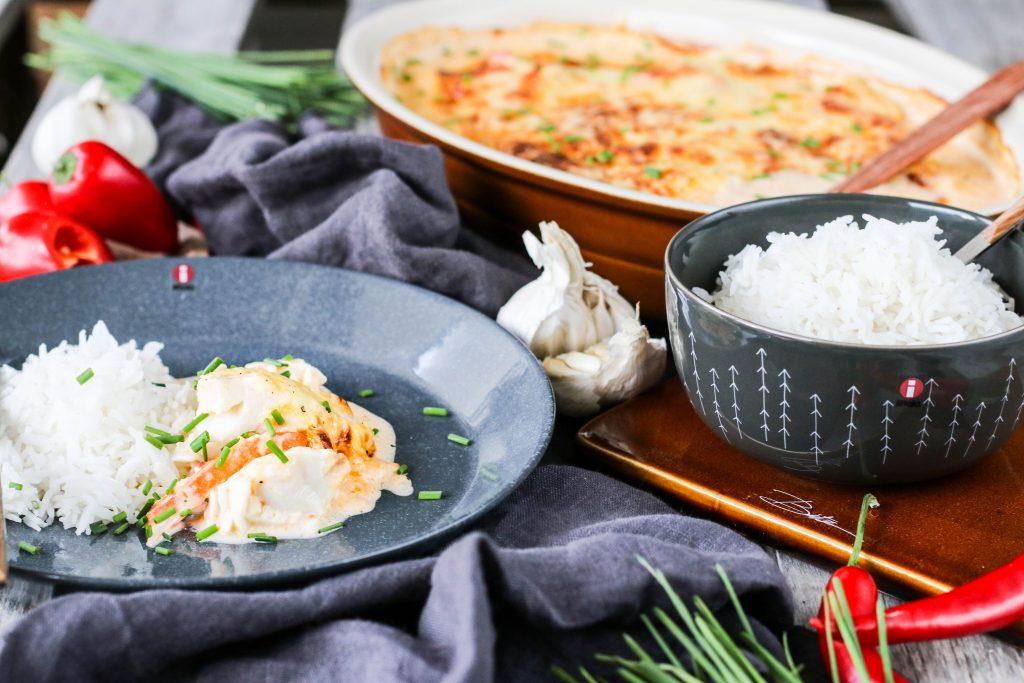 Ofnbakaður fiskur með papriku og chilli
