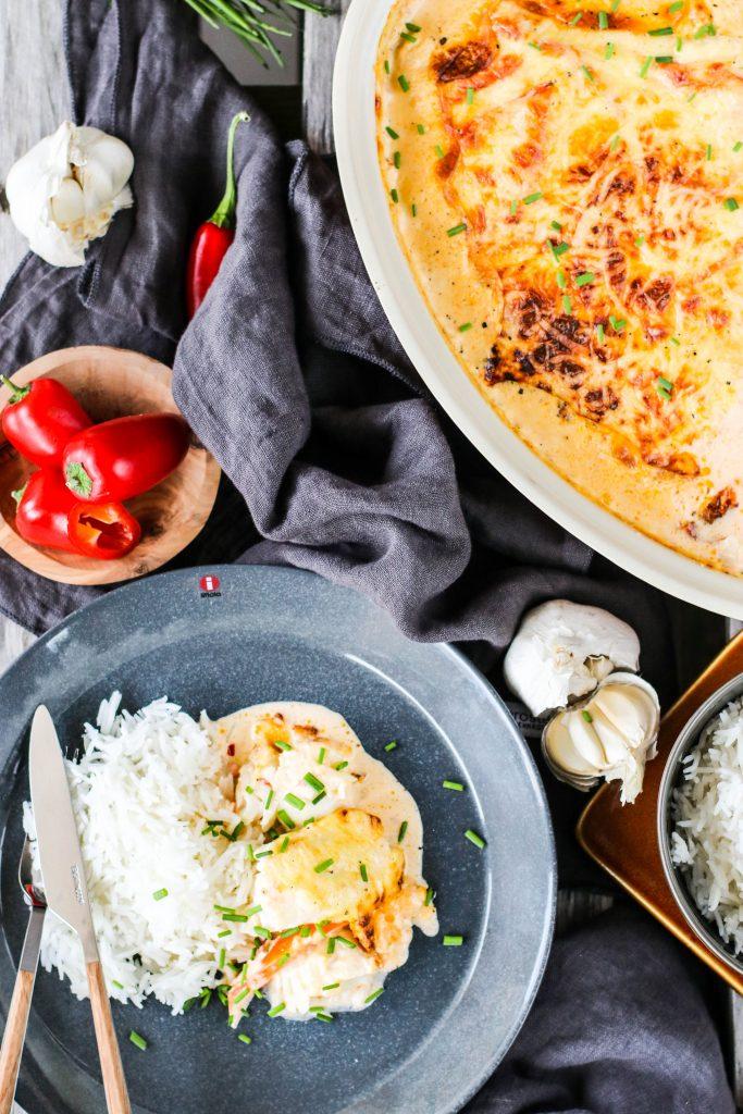 Ofnbakaður fiskur með papriku og chili