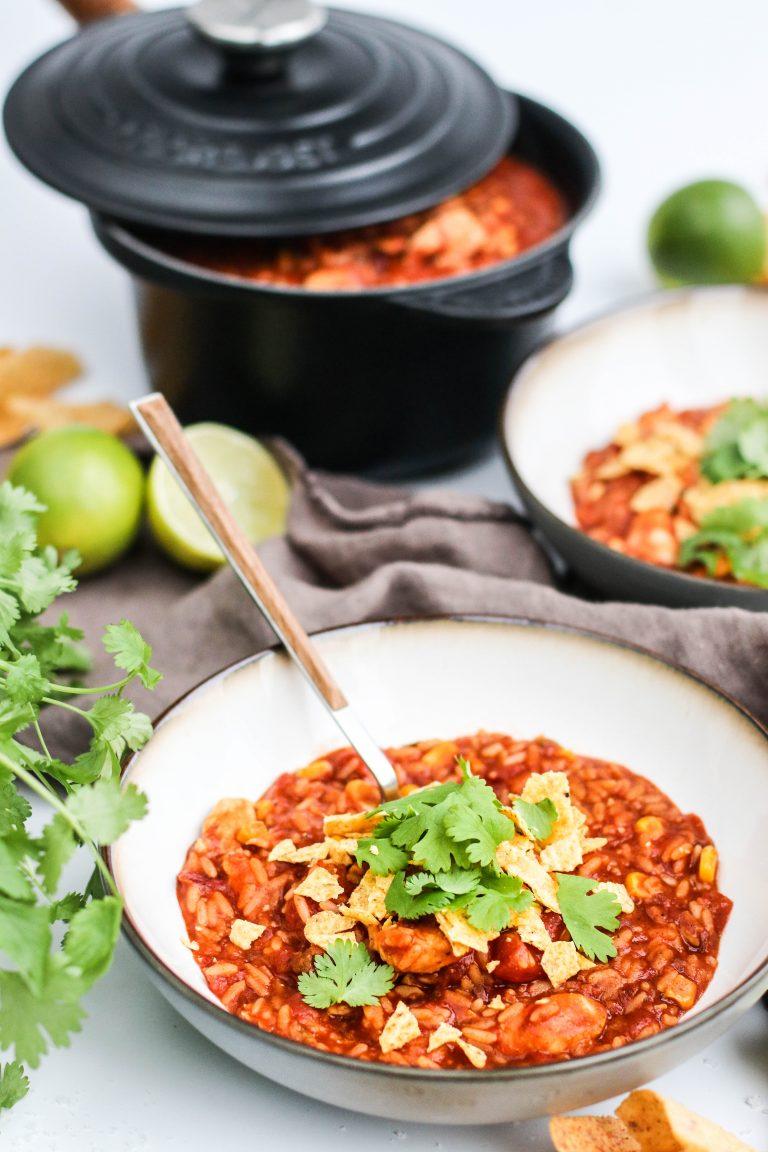 Kjúklingaréttur með hrísgrjónum og chili