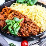 Vegan hakk og spagetti eða spaghetti bolognese