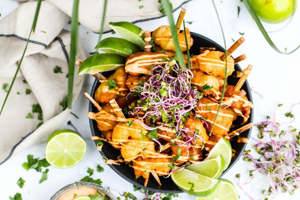 Djúpsteiktur humar í orly deigi með chili majónesi