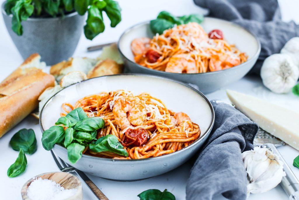 Spaghetti með risarækjum