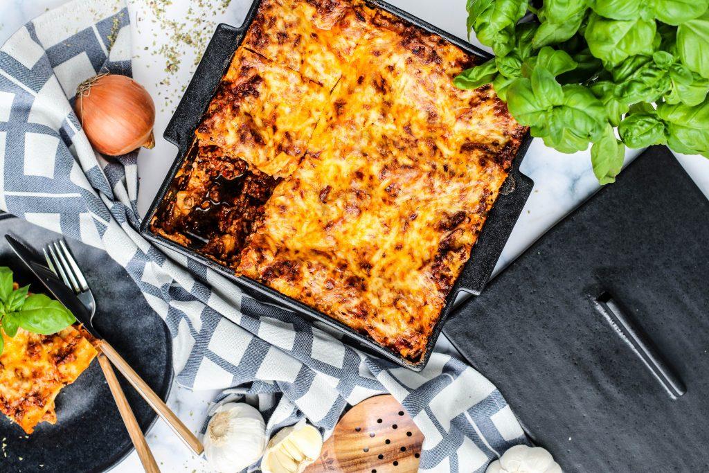 Eldfast mót með lasagna
